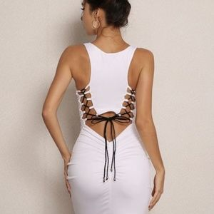 Ruched back cut-out dress